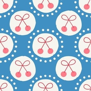 Retro Dots Cherries in Denim Blue