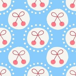 Retro Dots Cherries in Sky Blue