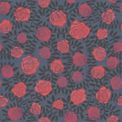 Wall of Roses block print on midnight blue