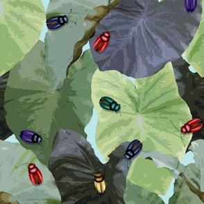 Jeweled Beetles taro leaves aquamarine blue