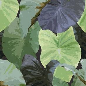 Retro taro leaves on smoky purple