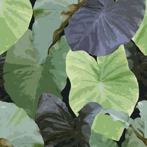 Retro taro leaves charcoal gray