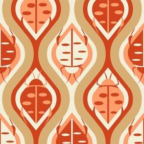 Retro Bugs Ogee- Light Tangerine Reddish Brown Gold Eggshell- Large Scale