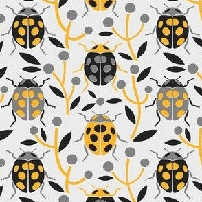 Retro Ladybugs (Grey and Yellow Palette) – Small Scale