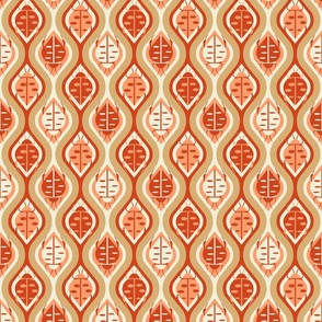 Retro Bugs Ogee- Light Tangerine Reddish Brown Gold Eggshell- Small Scale