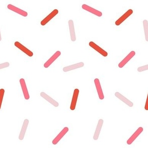 Sprinkles in pink and red colors