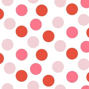 Red and Pink Polka Dots on white