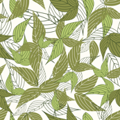 Green big leaf pattern with olive and apple green leaves in white background
