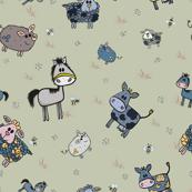 Cute hand drawn farm animals pattern on green background