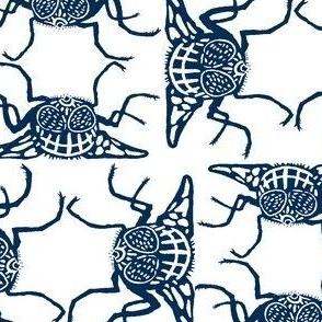 Business of Flies-Blue - Linocut Design