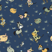 Funny farm animals hand drawn pattern with navy blue background