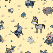 Funny hand drawn farm animals piggies, cows, sheep and horses pattern