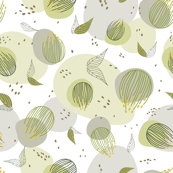 Green and grey abstract pattern with flowers, blobs and texture