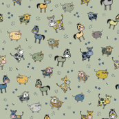 Whimsical farm animals pattern on green background
