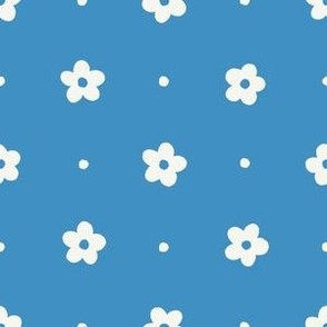 Flowers and Dots in Denim Blue