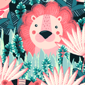 Jungle, Cute, pink stylized lion, tiger and giraffe on a green background