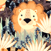 Jungle, Cute, orange stylized lion, tiger and giraffe on a gray-brown background