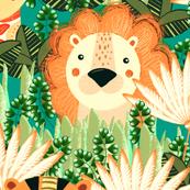 Jungle, Cute, orange stylized lion, tiger and giraffe on a green background