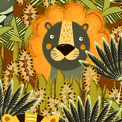 Jungle, Cute, orange stylized lion, tiger and giraffe on a green-brown background