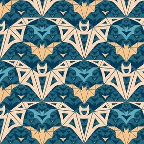 Bats Cave - teal - medium size - abstract, geometric, pastel , bats