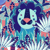 Jungle, Cute, multicolored stylized lion, tiger and giraffe on a blue background