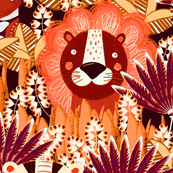 Jungle, Cute, multi-colored, orange-yellow stylized lion, tiger and giraffe on a burgundy background