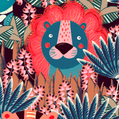 Jungle, Cute, multicolored stylized lion, tiger and giraffe on a turquoise-beige background