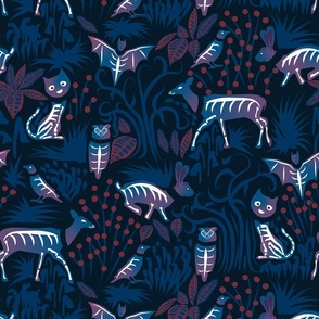 Eerie Forest- Mystical Animals in the Woods- Midnight Blue- Large Scale