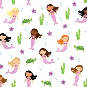 Multiracial Mermaids Pattern Purple