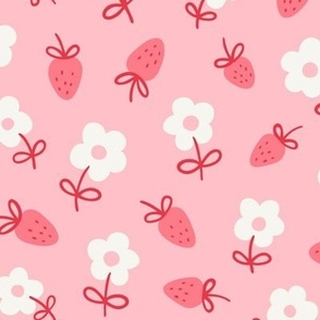 Strawberry Daisy Floral in Carnation Pink