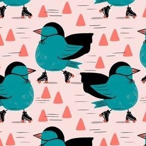 Skating birds with cones