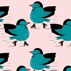 Bird on roller skates