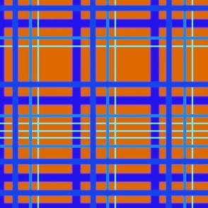 Geometric line design in orange and blues