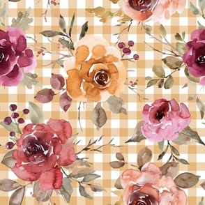 Light Gold Gingham Fall Floral rotated - large scale