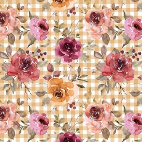 Light Gold Gingham Fall Floral - large scale
