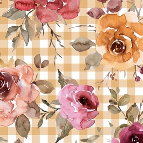 Light Gold Gingham Fall Floral - extra large scale