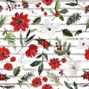 Jolly Christmas Florals / Dusty Blush Stripes copy