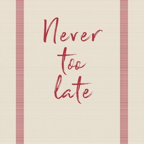 never_too_late_red_beige_gunnysack