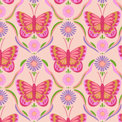 Retro Butterflies in pink