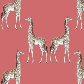 giraffe damask terra cotta red #ce6c6c