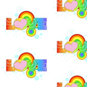 Love Rainbow Text on White - Large