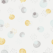 Abstract floral pattern in light pastel green and mustard yellow colors