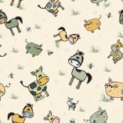 Cute comical farm animals cows, horses, pigs pattern