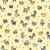 Cute hand drawn farm animals cows, horses, pigs, sheep pattern