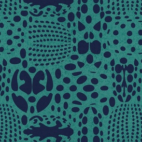 Normal scale // Bug shield // teal green background oxford blue beetle spots