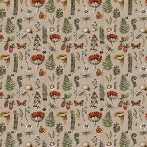 Forest mushroom beige pattern