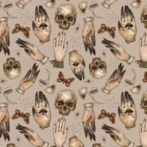 Magical skull, witch hands, mushrooms