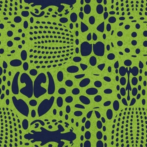 Normal scale // Bug shield // green background oxford blue beetle spots
