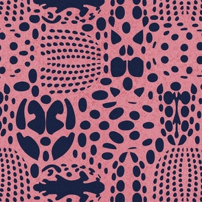 Normal scale // Bug shield // pink background oxford blue beetle spots