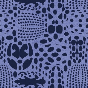 Normal scale // Bug shield // electric blue background oxford blue beetle spots